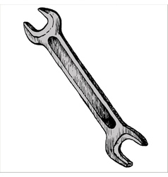 Hand drawn wrench vector