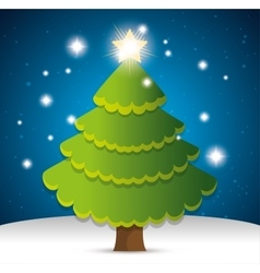 happy merry christmas tree pine vector image
