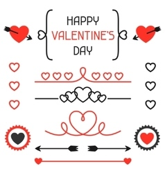 Happy valentines day set of decoration dividers vector