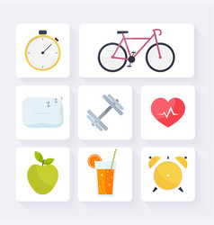 Icons for web fitness healthy food and metrics vector