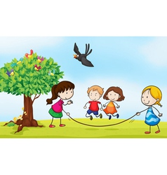 kids and a tree vector image vector image