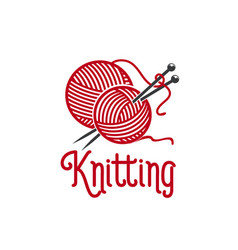 knitting ionc of knit pins and wool clew vector image