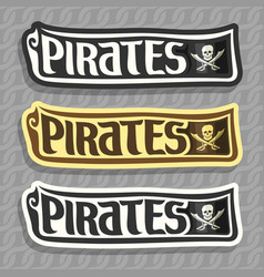 Labels for pirate theme vector