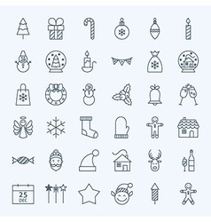 Line Holiday Christmas new Year Icons Set vector image