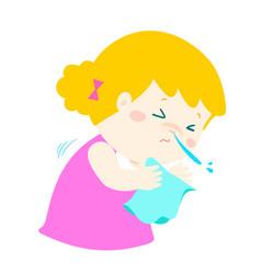 little girl sneezing cartoon vector image