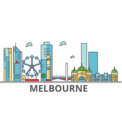 melbourne city skyline buildings streets vector image