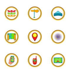 navigator icons set cartoon style vector image vector image