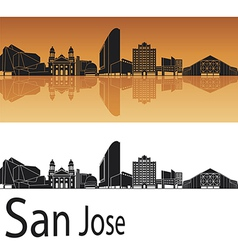 San Jose skyline in orange background vector image