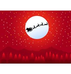 Santa sleigh in christmas night- vector