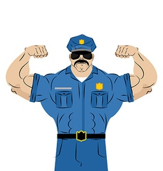 Strong power police officer large man in police vector