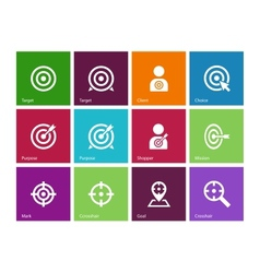 Target icons on color background vector image vector image