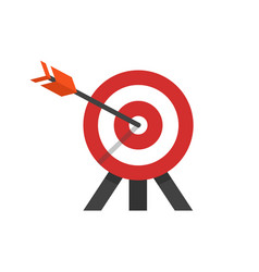 Target with arrow in a bulls eye on tripod vector