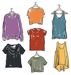 Women fashion t shirt collection set vector image