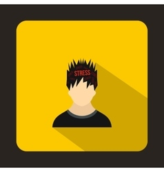Word stress in the head of man icon flat style vector image vector image