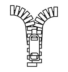 Zipper icon outline style vector