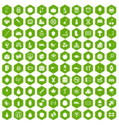 100 apple icons hexagon green vector