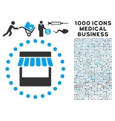 Store icon with 1000 medical business pictograms vector