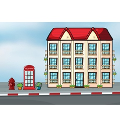 A large house and a callbox vector