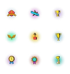 Competition icons set pop-art style vector