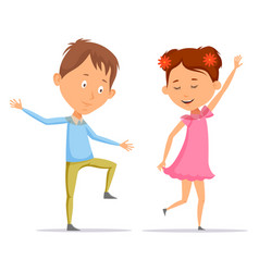 Girl and boy children and kid dancing vector