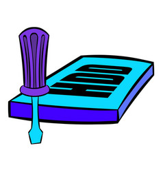 Screwdriver and hdd icon cartoon vector