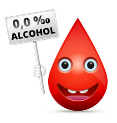 Zero level of blood alcohol content - isolated vector
