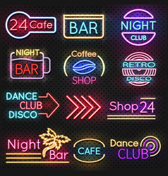 Vintage cafe and night club roadside neon signs vector