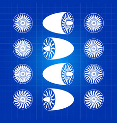 aircraft white engine turbines on blue background vector image