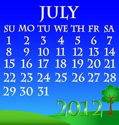 July 2012 landscape calendar vector