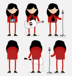 Curly hair musician in red vector image