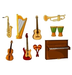 Large set of various musical instruments vector