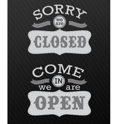 Image of various open and closed business signs vector
