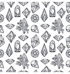 Seamless pattern with different gemstones vector