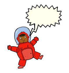 Cartoon astronaut with speech bubble vector