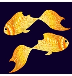 Smily golden fishes vector