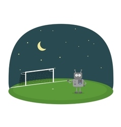 Cartoon of robot on a soccer field under vector