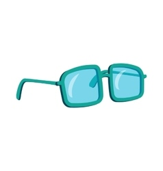 Glasses in a blue plastic frame icon cartoon style vector