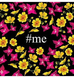 Abstract poster with tag me floral background vector