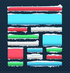 Banners and buttons with snow caps and icicles vector