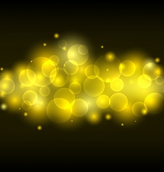 Blurred yellow light lens gold bokeh background vector