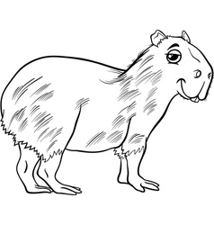 Capybara animal cartoon coloring page vector