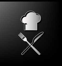 chef with knife and fork sign gray 3d vector image vector image