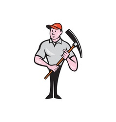 Construction worker holding pickaxe cartoon vector