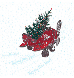 festive 2018 new year card red airplane with fir vector image