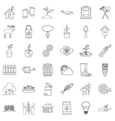 Globe icons set outline style vector