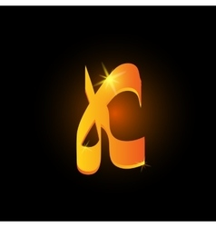 Golden arabic style letter k shiny latin alphabet vector