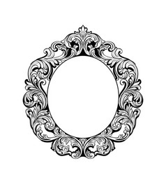Imperial baroque mirror round frame french vector