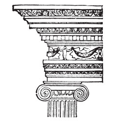 Ionic order 6th century vintage engraving vector