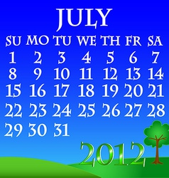 July 2012 landscape calendar vector