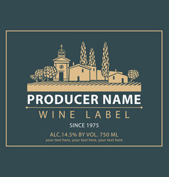 Label for wine with village with a vineyard vector